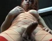Eingeschnürter Ladyboy spielt sich am Glied